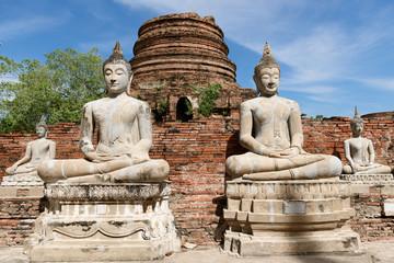 Buddha statue in Ayutthaya historical province park,Thailand. worship of Thailand