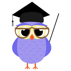 School Owl vector illustration