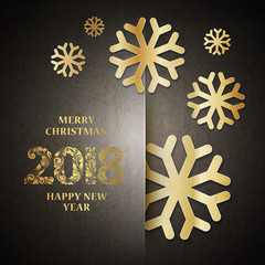 Happy new year card. Gold template over black background with golden snow. Happy new year 2018. Template for your design. Vector illustration.