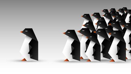 stado pingwinów origami