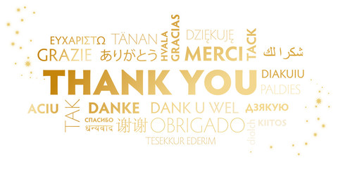 Thank you white and golden postcard
