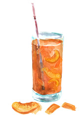 Watercolor drawing of a drink, juice, cocktail with  apricot, peach. Cherry, currant grapes. Drink in a transparent glass. On white isolated background.