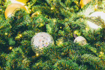 Decorated Christmas tree background