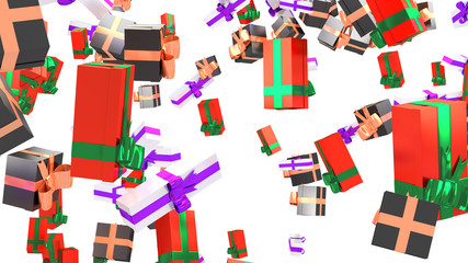 Rain of Many White with Purple Ribbon and Red with Green Ribbon and Black with Peach Ribbon Big Gifts