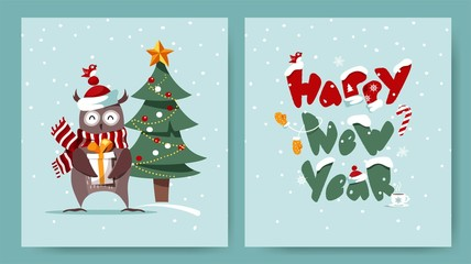 Set of Merry Christmas and Happy New Year cards with cute owl, christmas tree and typographic design. Winter cartoon vector illustration