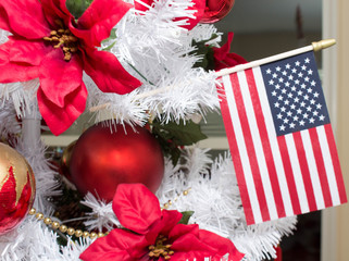 American Flag and Christmas Decorations in White Tree 2