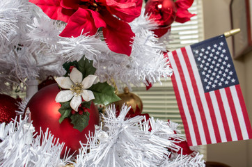 American Flag and Christmas Decorations in White Tree