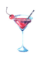 Watercolor drawing. Cocktail with a cherry. Martini, champagne, margarita in a transparent glass on a white isolated background. Watercolor illustration, logo.