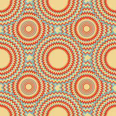 graphic seamless pattern with zigzag rings in red and blue