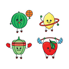 Bell pepper, watermelon, lemon and apple characters doing sport exercises, flat cartoon vector illustration isolated on white background. Funny pepper, watermelon, lemon and apple characters training