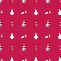 Winter christmas seamless pattern with christmas tree, candy cane and snowman. Vector illustration