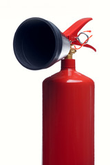 Photo of close-up of red fire extinguisher