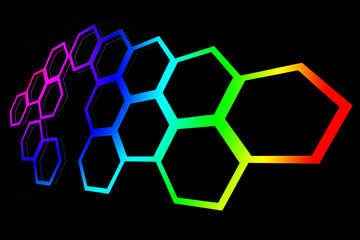 Abstract of hexagonal shape look alike honeycomb with effect of rainbow pattern painting on black background