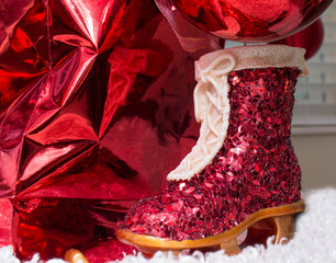 One Red Ice Skate Christmas Decoration