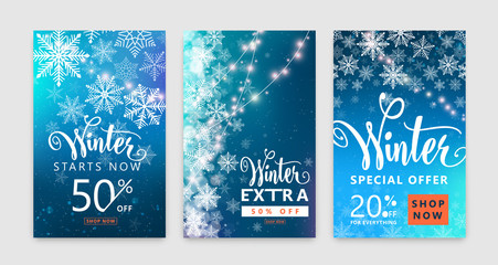 Winter poster set. Color sale background design with christmas snow, snowflake
