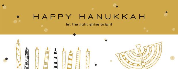 Hanukkah greeting banner , Jewish holiday symbols. golden hanukkah menora and candles