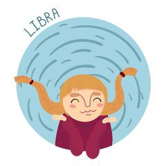 Cute zodiac sign - Libra. Vector illustration.
