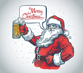 Jolly Santa Claus with a beer in hand and with a speech bubble.