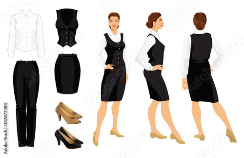 Vector illustration of corporate dress code. Business woman or professor in  formal clothes. Front 265df3ebe