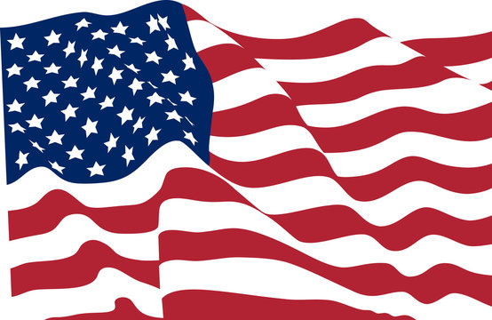 Stars striped waving flag USA no gradient