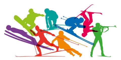 ski - sports d'hiver - ski alpin - skier - ski de fond - snowboard - skieur - saut à ski - sport - silhouette