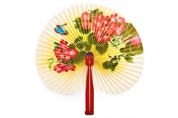 Closeup of Traditional Chinese fan isolated on white background.Chinese paper fan