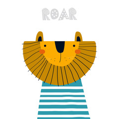 Funny cartoon lion. Cool kids print. Vector hand drawn illustration.