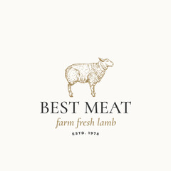 Best Meat Farm Fresh Lamb Abstract Vector Sign, Symbol or Logo Template. Hand Drawn Engraving Sheep Sillhouette with Retro Typography. Vintage Vector Emblem.