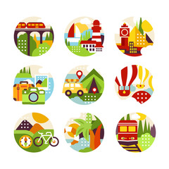 Collection of flat natural circle logo with landscape, city veiw and different types of vehicle. Design elements for travel agency or infographic