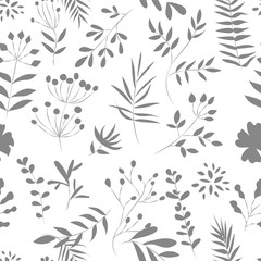seamless pattern of  plants on a white background, vector illustration