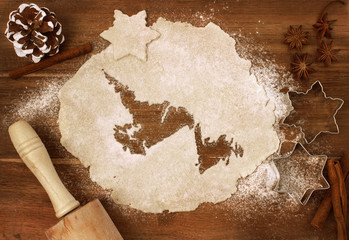 Cookie dough cut as the shape of Newfoundland (series)