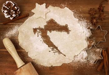 Cookie dough cut as the shape of Croatia (series)