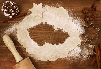 Cookie dough cut as the shape of Czech Republic (series)
