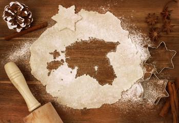 Cookie dough cut as the shape of Estonia (series)