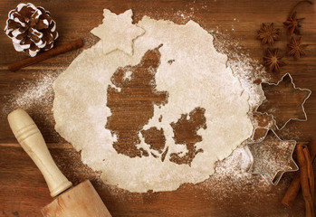 Cookie dough cut as the shape of Denmark (series)