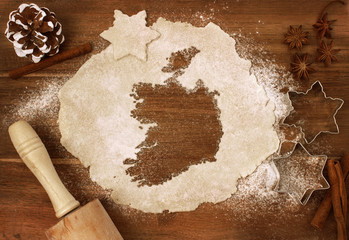Cookie dough cut as the shape of Ireland (series)