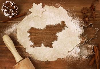 Cookie dough cut as the shape of Slovenia (series)
