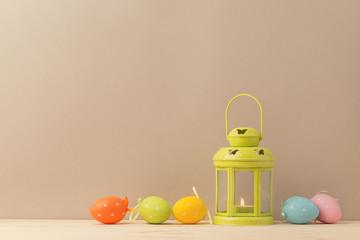 Gentle arrangement of lantern and eggs