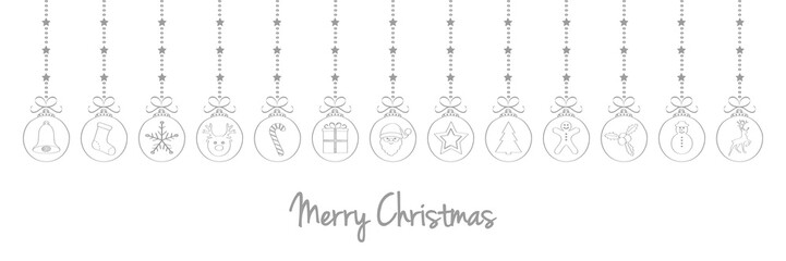 Hand drawn Christmas balls with greeting. Vector.