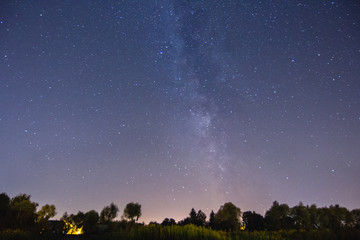 Milky way stars sky rural landscape