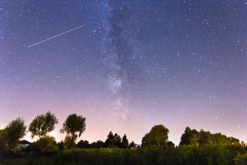 Milky way stars sky rural landscape