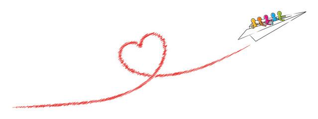 Papierflugzeug mit einer Gruppe Strichmännchen fliegt ein rotes Herz / Vektor-Zeichnung, freigestellt