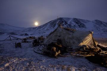 Yaranga, tent of Siberian reindeer nomads with rising moon, Chukotka Autonomous Okrug, Siberia, Russia