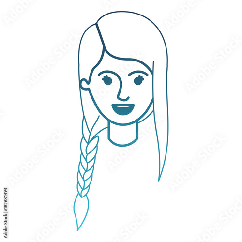 Female Face With Braid And Fringe Hairstyle In Degraded Blue