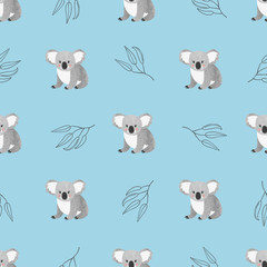 Seamless pattern with cute watercolor koala bears on blue. Vector background