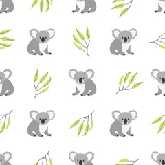 Seamless pattern with cute koala bears. Vector background.