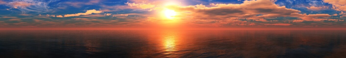 beautiful sea sunset, panorama of the ocean sunrise, sun over the water, banner