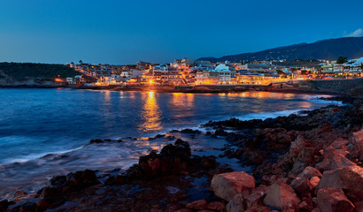 Panoramic view of  La Caleta de Adeje village in the night time , Tenerife,Canary Islands,Spain.
