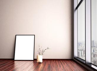 Leeres Zimmer mit Bilderrahmen und großer Fensterfront