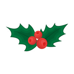Holly symbol of Christmas single icon in cartoon style for design.Christmas vector symbol stock illustration web.